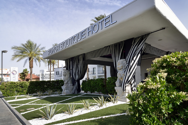 The exterior of Rumor Boutique Hotel at 455 E. Harmon Ave. in Las Vegas is shown on Tuesday, April 22, 2014. (Bill Hughes/Las Vegas Review-Journal)