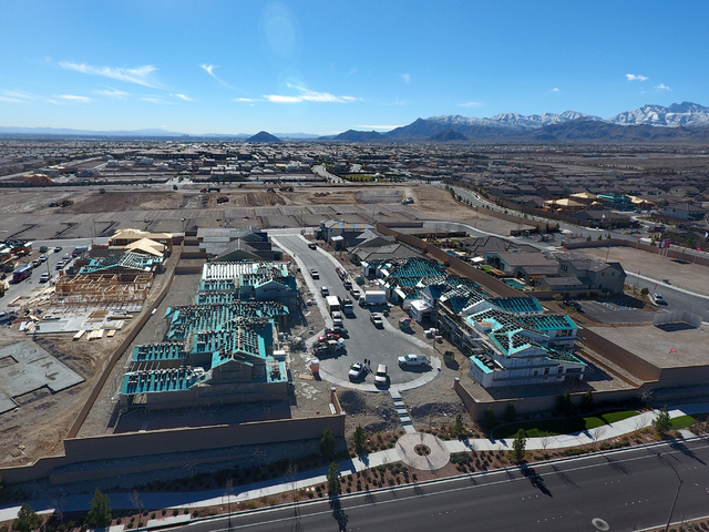 Aerial view of the Keystone at Skye Canyon housing development in northwest Las Vegas on Wednesday, January 26, 2017. (Michael Quine/Las Vegas Review-Journal) @Vegas88s