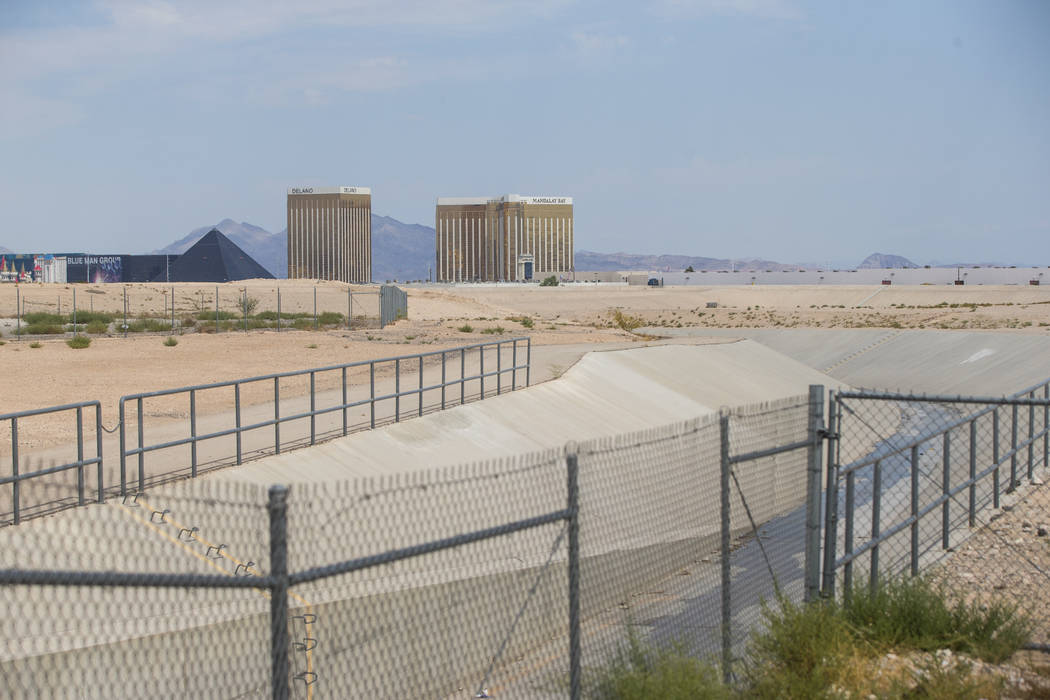 The Tropicana Detention Basin, which flows into the Flamingo Wash, off of Decatur Boulevard in Las Vegas on Thursday, Aug. 31, 2017. An underground flood-control culvert cuts through the planned L ...