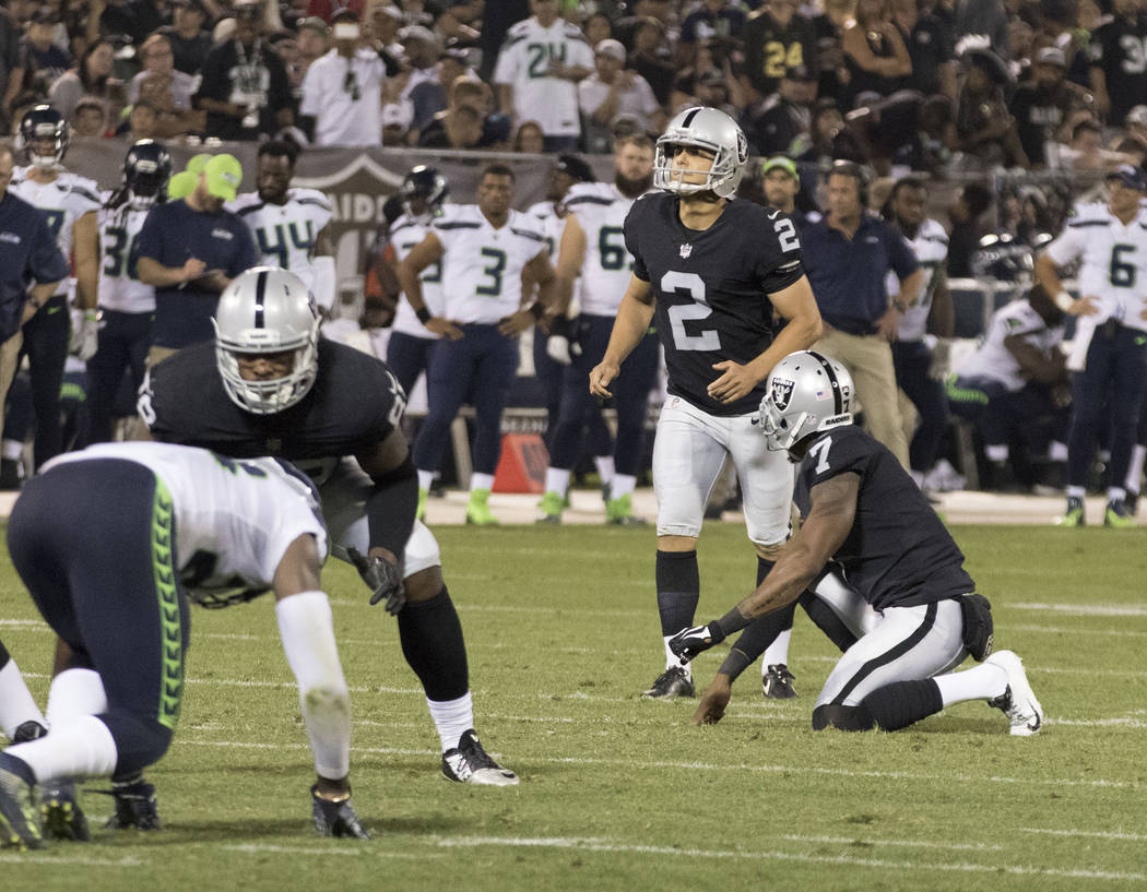 Oakland Raiders kicker Giorgio Tavecchio (2) attempts the extra point at a NFL preseason game against the Seattle Seahawks in Oakland, Calif., Thursday, Aug. 31, 2017. Heidi Fang Las Vegas Review- ...
