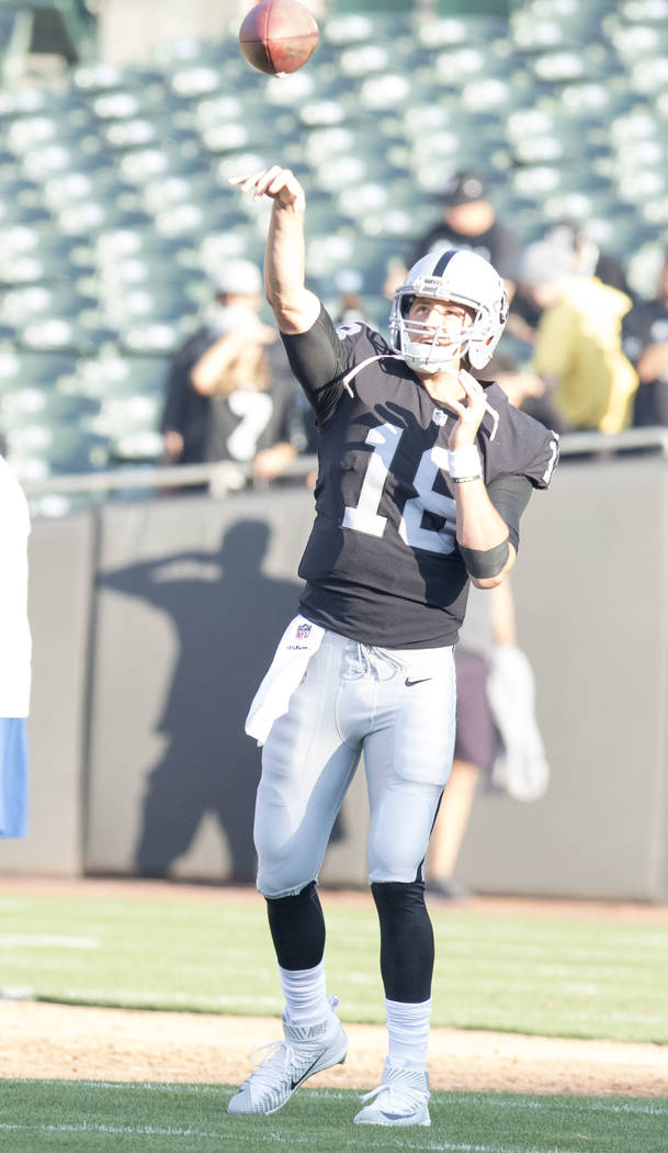 Oakland Raiders quarterback Connor Cook (18) warms up prior to the start of the preseason game against Seattle Seahawks in Oakland, Calif., Thursday, Aug. 31, 2017. Heidi Fang Las Vegas Review-Jou ...