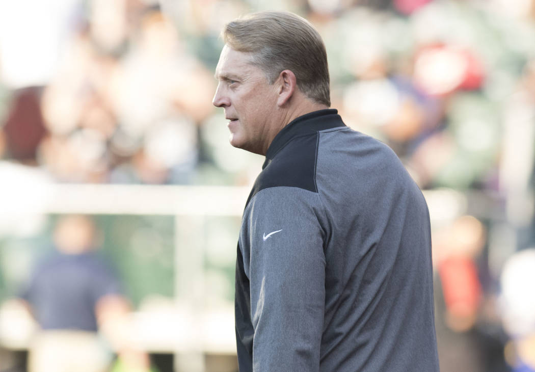 Oakland Raiders head coach Jack Del Rio at the team's preseason game against the Seattle Seahawks in Oakland, Calif., Thursday, Aug. 31, 2017. Heidi Fang Las Vegas Review-Journal @HeidiFang
