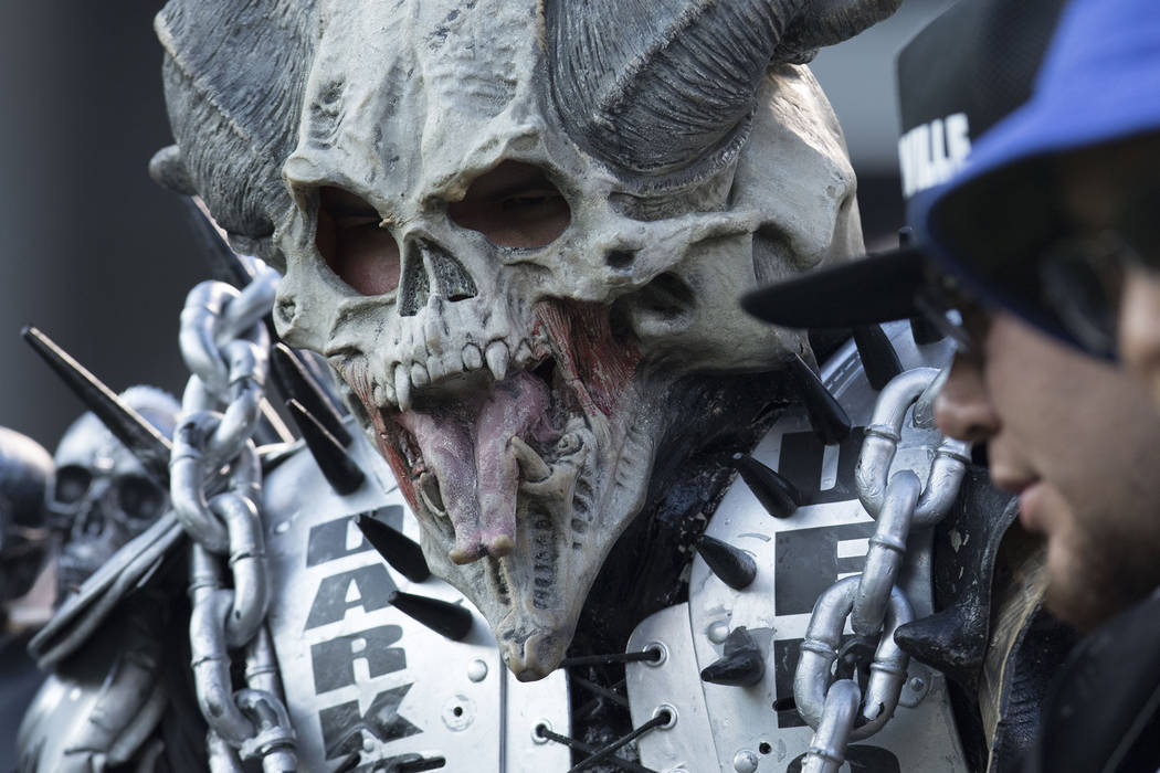 An Oakland Raiders fan at a NFL preseason game against the Seattle Seahawks in Oakland, Calif., Thursday, Aug. 31, 2017. Heidi Fang Las Vegas Review-Journal @HeidiFang