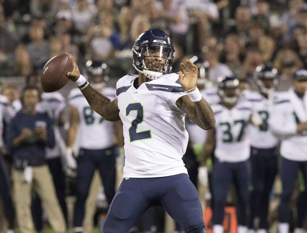 Seattle Seahawks quarterback Trevone Boykin (2) throws the ball in the first half of the preseason game against the Oakland Raiders in Oakland, Calif., Thursday, Aug. 31, 2017. Heidi Fang Las Vega ...