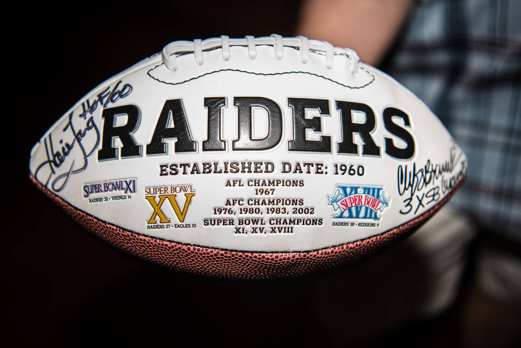 One of the many collectible items at the Raiders signing event at the Mermaid Lounge at Silverton hotel-casino on Saturday, Sep. 9, 2017, in Las Vegas. Morgan Lieberman Las Vegas Review-Journal