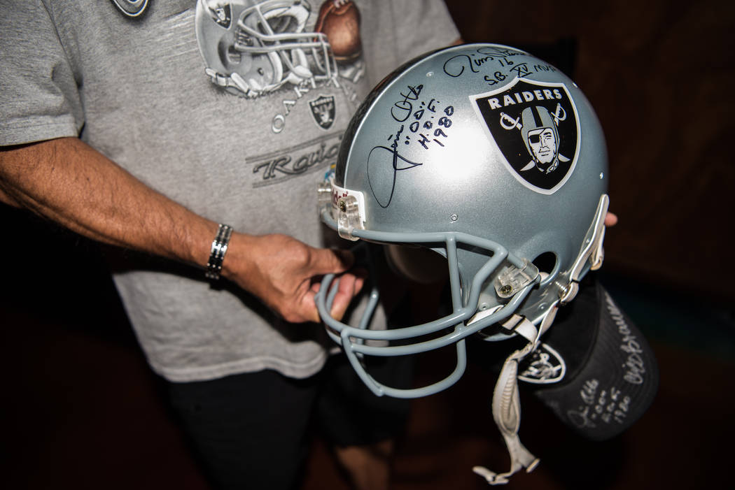 One of the many collectible items brought to the Raiders signing event at the Mermaid Lounge at Silverton hotel-casino on Saturday, Sep. 9, 2017, in Las Vegas. Morgan Lieberman Las Vegas Review-Jo ...