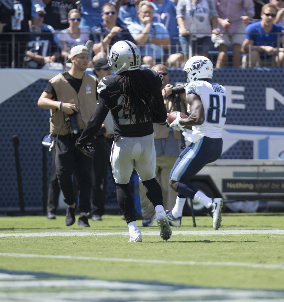 Tennessee Titans wide receiver Corey Davis (84) catches the ball in the first half of the game against the Oakland Raiders at the Nissan Stadium in Nashville, Tenn., Sunday, Sept. 10, 2017. Heidi  ...