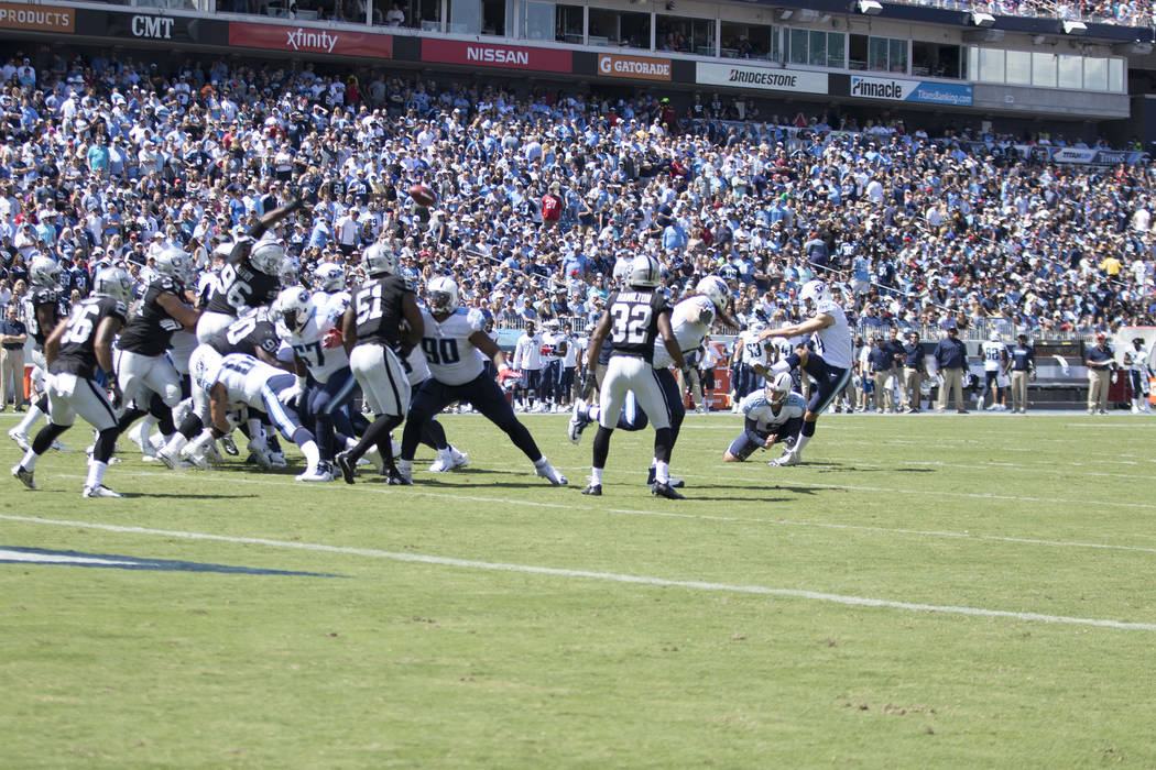 Tennessee Titans kicker Ryan Succop (4) kicks a field goal in the first half of the game against the Oakland Raiders at the Nissan Stadium in Nashville, Tenn., Sunday, Sept. 10, 2017. Heidi Fang L ...