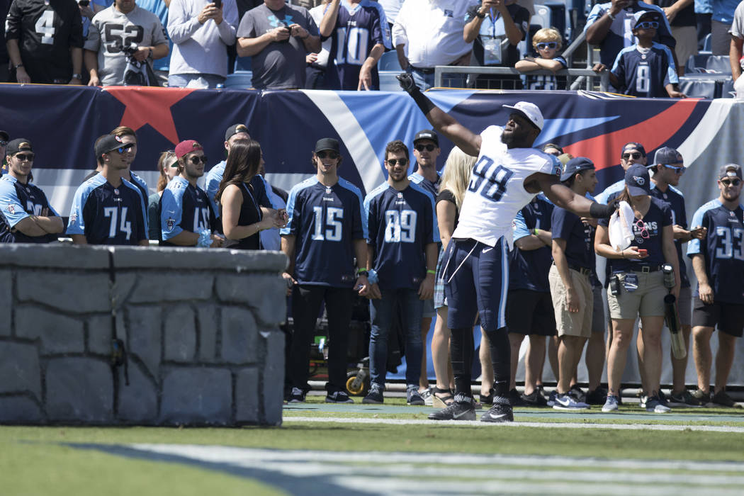 Tennessee Titans outside linebacker Brian Orakpo (98) comes on to the Nissan Stadium field for their game against the Oakland Raiders in Nashville, Tenn., Sunday, Sept. 10, 2017. Heidi Fang Las Ve ...