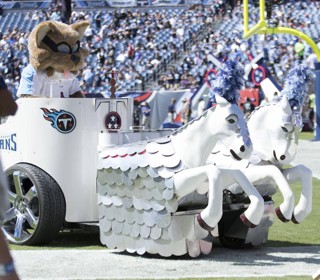 The Tennessee Titans mascot arrives to the Nissan Stadium in Nashville, Tenn., Sunday, Sept. 10, 2017. Heidi Fang Las Vegas Review-Journal @HeidiFang