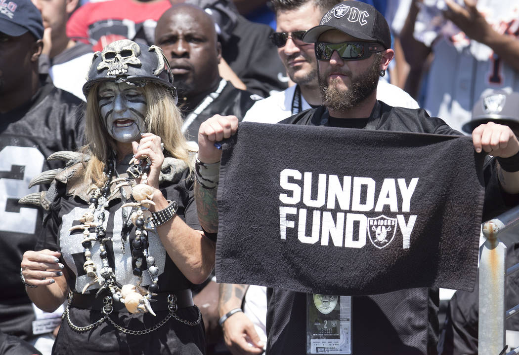 Oakland Raiders fans at the Nissan Stadium in Nashville, Tenn., for the team's game against the Tennessee Titans on Sunday, Sept. 10, 2017. Heidi Fang Las Vegas Review-Journal @HeidiFang