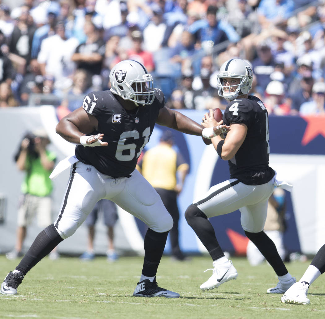 Oakland Raiders quarterback Derek Carr (4) prepares to throw the ball at the Nissan Stadium in Nashville, Tenn., for the team's game against the Tennessee Titans on Sunday, Sept. 10, 2017. Heidi F ...