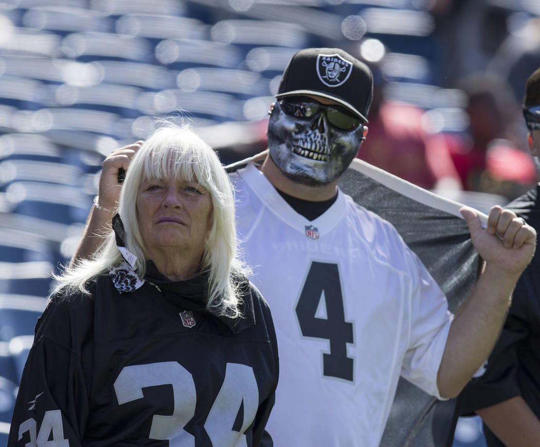 Oakland Raiders fans at the team's game against the Tennessee Titans at the Nissan Stadium in Nashville, Tenn., Sunday, Sept. 10, 2017. Heidi Fang Las Vegas Review-Journal @HeidiFang