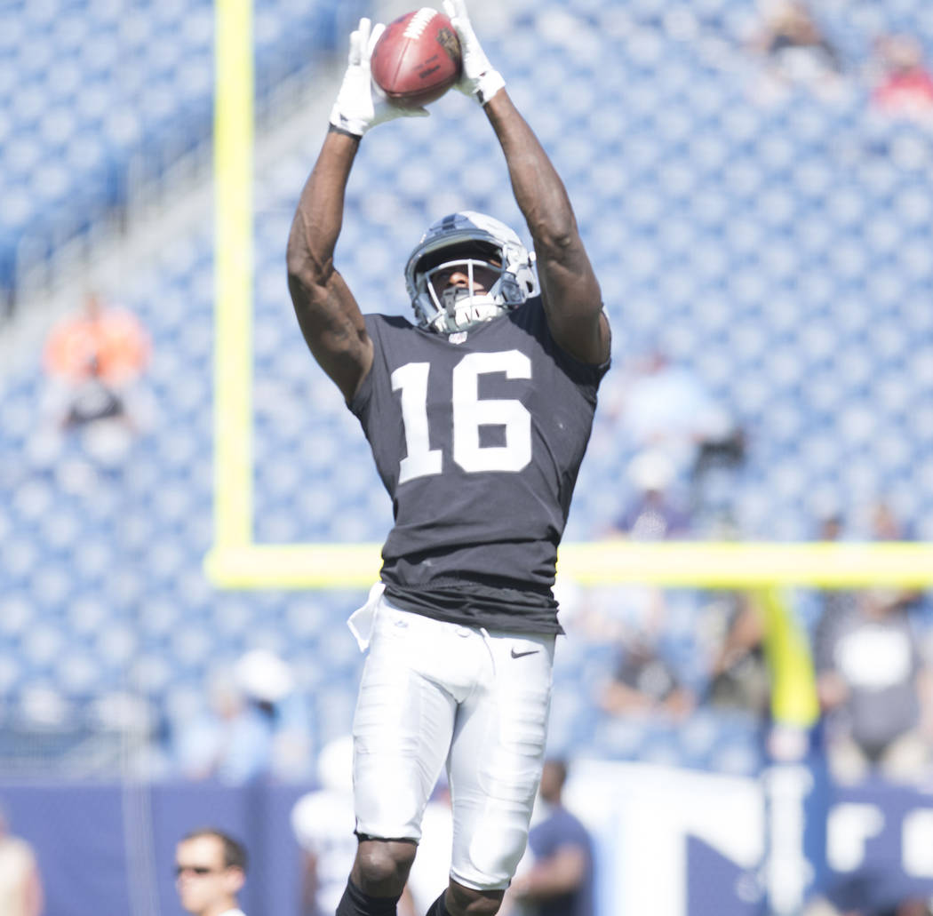 Oakland Raiders wide receiver Johnny Holton (16) warms up prior to the team's game against the Tennessee Titans at the Nissan Stadium in Nashville, Tenn., Sunday, Sept. 10, 2017. Heidi Fang Las Ve ...