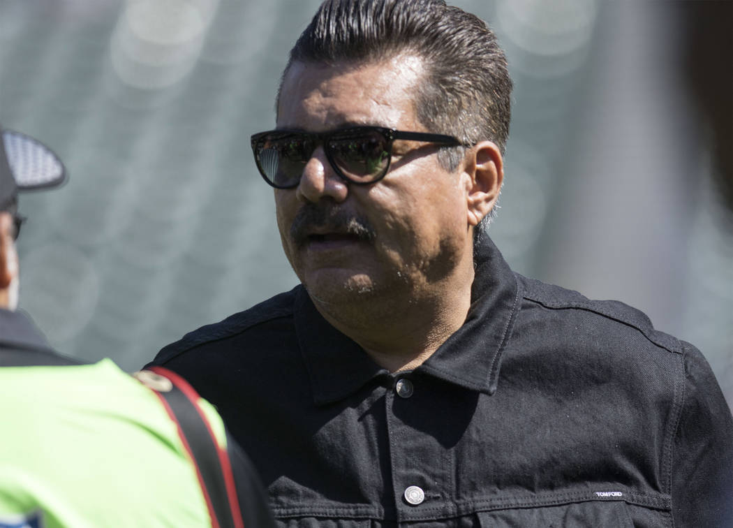 Comedian George Lopez on the field prior to the start of the Oakland Raiders game against the New York Jets in Oakland, Calif., Sunday, Sept. 17, 2017. Heidi Fang Las Vegas Review-Journal @HeidiFang