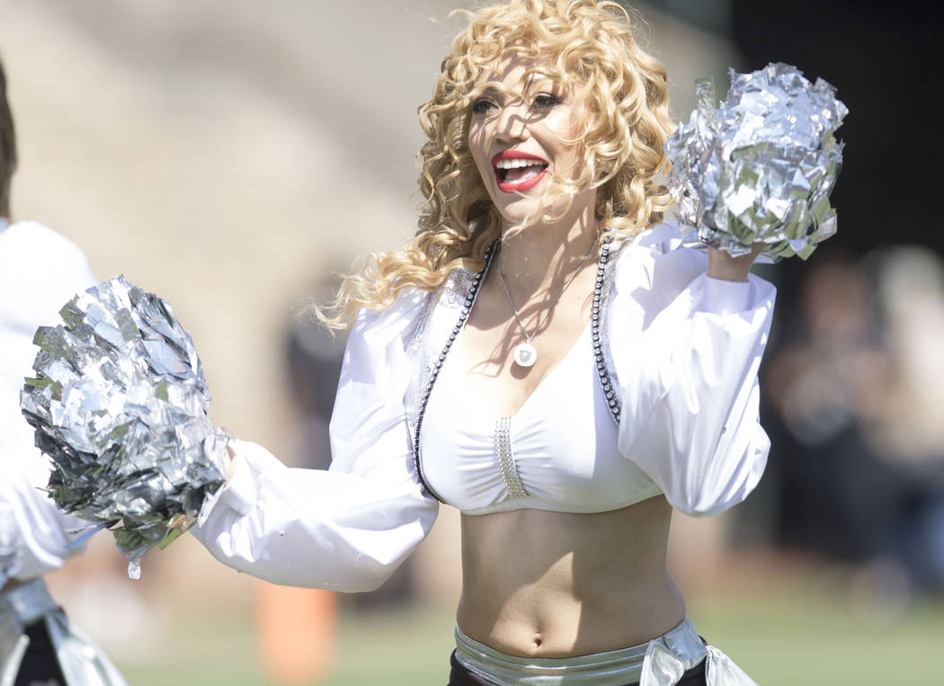 A Raiderette performs on the sideline in the first half of their game against the Jets in Oakland, Calif., Sunday, Sept. 17, 2017. Heidi Fang Las Vegas Review-Journal @HeidiFang