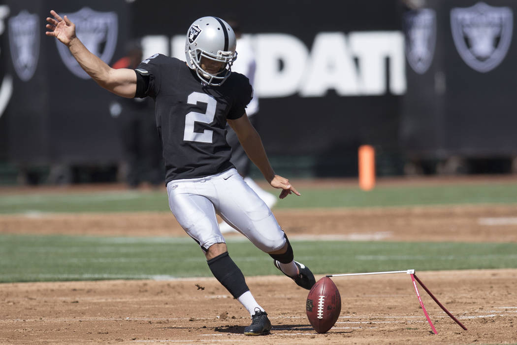 Oakland Raiders kicker Giorgio Tavecchio practices field goals on the field prior to the start of their game against the New York Jets in Oakland, Calif., Sunday, Sept. 17, 2017. Heidi Fang Las Ve ...