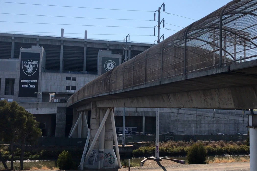A view of the Oakland-Alameda County Coliseum from the BART station walkway on Saturday, Aug. 19, 2017. Heidi Fang Las Vegas Review-Journal @HeidiFang