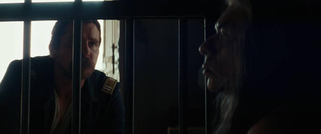 "Cavalry Captain Joseph Blocker (Christian Bale), left, confronts his former adversary Yellow Hawk (Wes Studi) in a scene from ""Hostiles."" (Lorey Sebastian/Yellow Hawk, Inc.)"