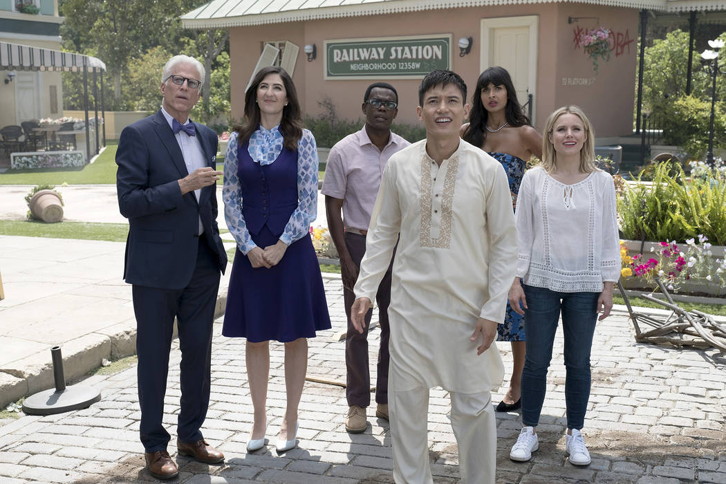 """THE GOOD PLACE -- """"Best Self"""" Episode 210 -- Pictured: (l-r) Ted Danson as Michael, D'Arcy Carden as Janet, William Jackson Harper as Chidi, Manny Jacinto as Jianyu, Jameela Jami ..."""