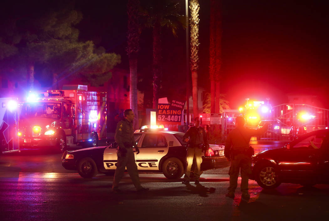 Las Vegas police respond to a scene where multiple people were shot at 3750 E. Bonanza Road in Las Vegas on Dec. 27, 2017. Chase Stevens Las Vegas Review-Journal @csstevensphoto