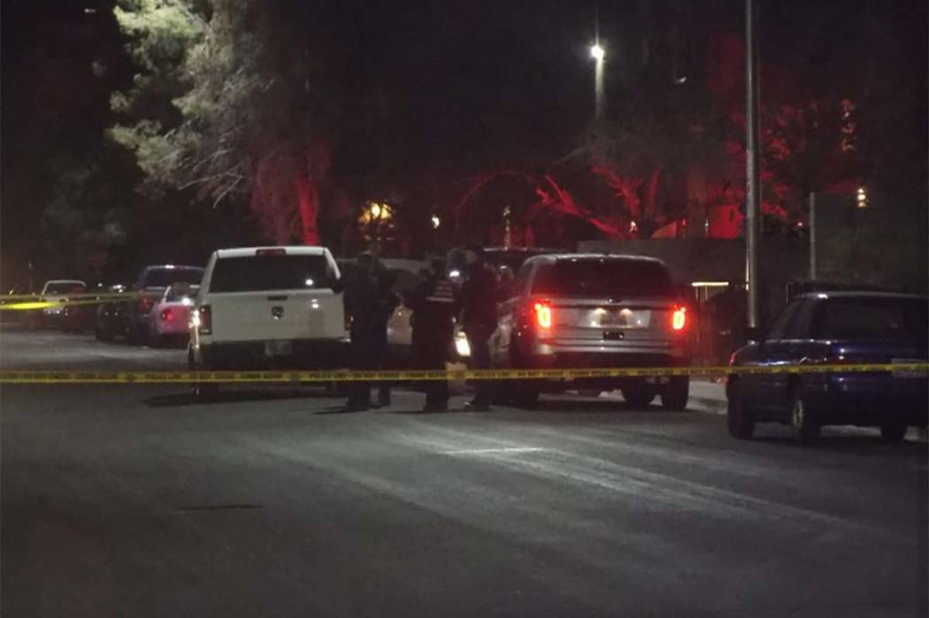 Las Vegas police are investigating after a man was shot dead during a dispute over a parking space on the 6200 block of Ilanos Lane near Lake Mead and Jones boulevards. (Max Michor/Las Vegas Revie ...
