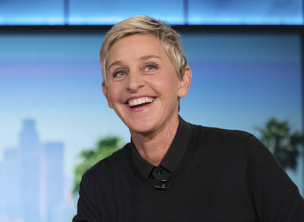 """FILE - In this Oct. 13, 2016, file photo, Ellen Degeneres appears during a commercial break at a taping of """"The Ellen Show"""" in Burbank. DeGeneres is known for keeping her comedy on the nice side.  ..."""