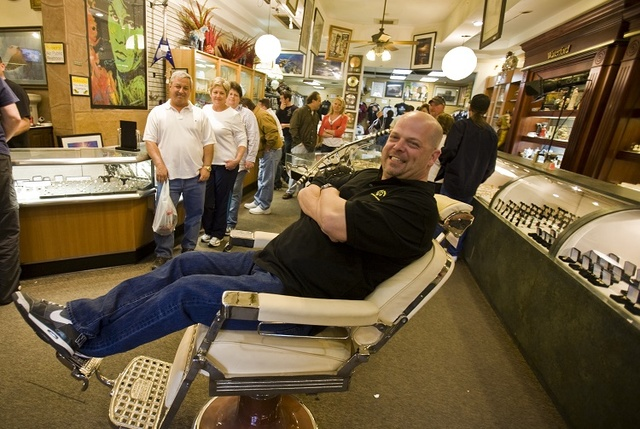 Gold & Silver Pawn Shop co-owner Rick Harrison reclines in a barber chair at his shop at 713 Las Vegas Blvd. in Las Vegas, Feb. 5, 2010. (Jeff Scheid/Las Vegas Review-Journal file)
