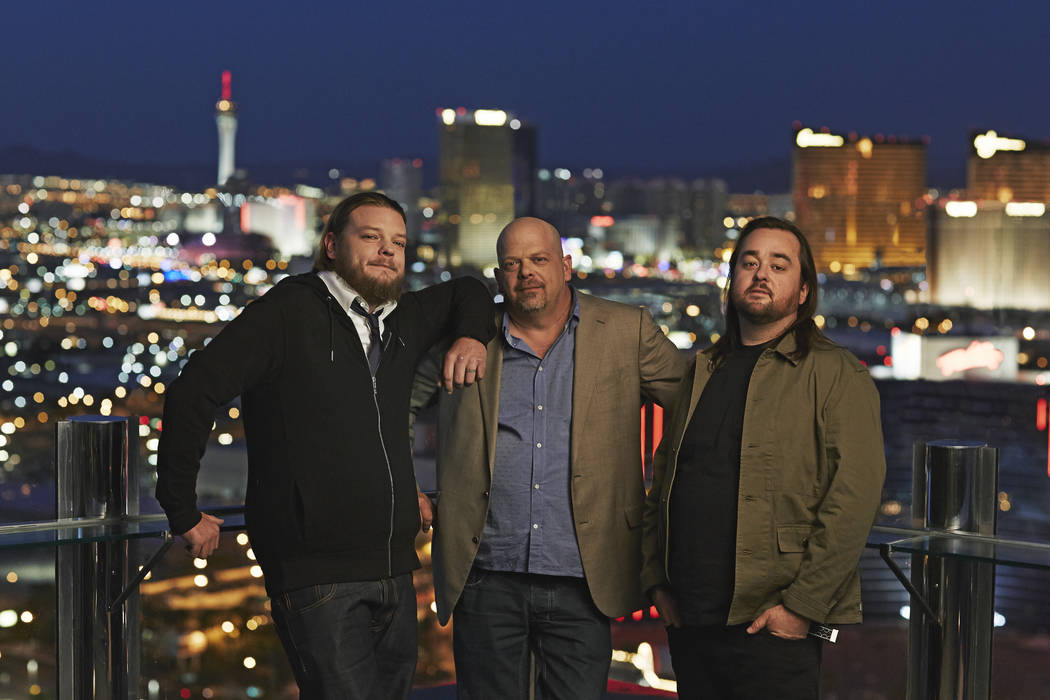 """From left, Corey Harrison, Rick Harrison and Austin """"Chumlee"""" Russell are celebrating the 500th episode of """"Pawn Stars,"""" which will air at 10 p.m. Monday on History. (Joey L./History)"""