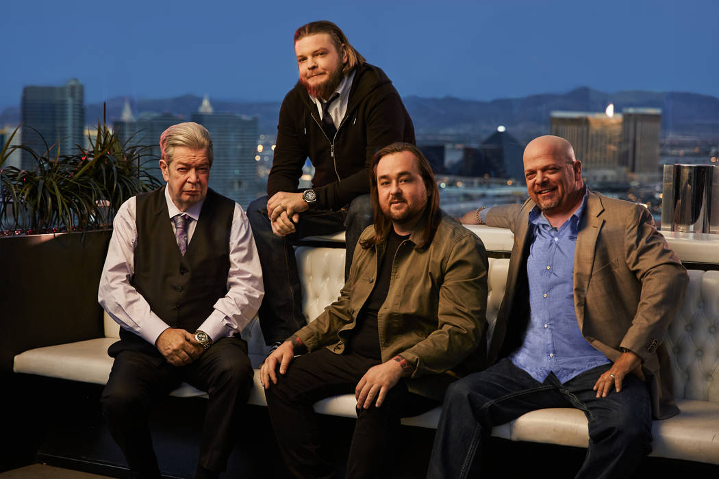 """From left, Richard Harrison, Corey Harrison, Austin """"Chumlee"""" Russell and Rick Harrison are celebrating the 500th episode of """"Pawn Stars,"""" which will air at 10 p.m. Monday on History. (Joey L./His ..."""