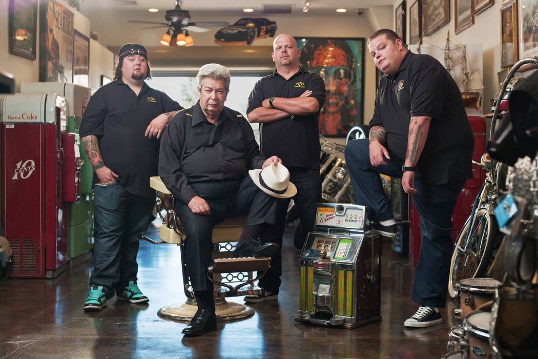 """From left, Austin """"Chumlee"""" Russell, Richard Harrison, Rick Harrison and Corey Harrison star in History's """"Pawn Stars."""" Photo by History Copyright 2014"""