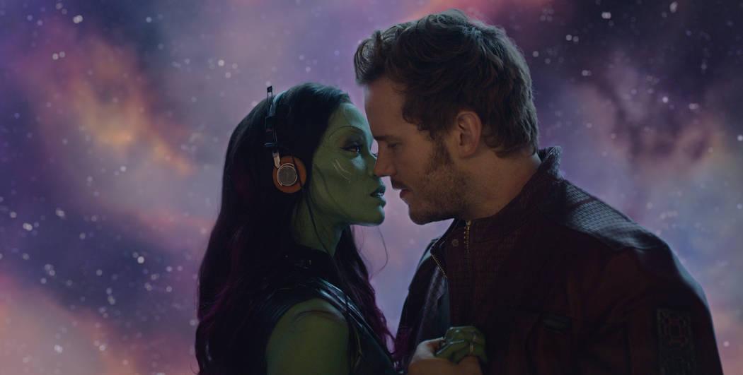 Marvel's Guardians Of The Galaxy..L to R: Gamora (Zoe Saldana) and Star-Lord/Peter Quill (Chris Pratt) Film Frame ©Marvel 2014