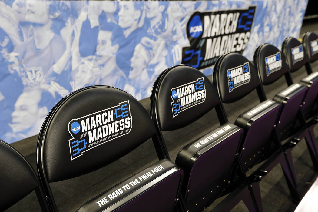 General view of the March Madness logo on chairs during practice prior to the first round of the NCAA Tournament at Amway Center in Orlando. (Kim Klement/USA Today Sports)