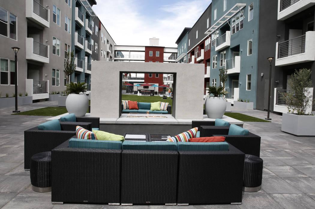 A quite area at the Mercer apartment complex on Monday, April 2, 2018, in Las Vegas.  (Bizuayehu Tesfaye/Las Vegas Review-Journal) @bizutesfaye