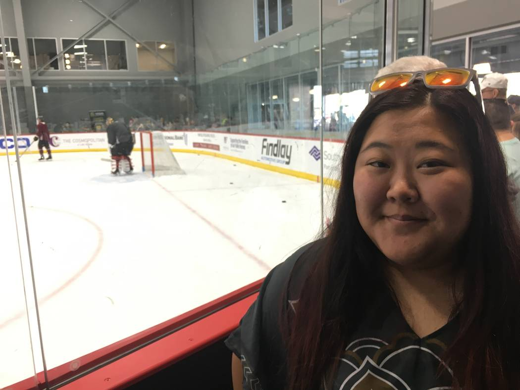 Golden Knights fan Lizz Child poses for a photo during the team's practice on Monday, April 9, 2018, at City National Arena in Las Vegas. (Eli Segall/Las Vegas Review-Journal)