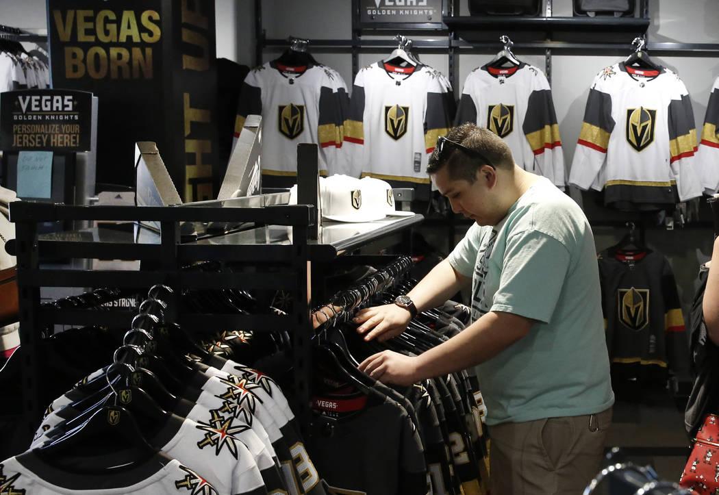 Sergio Ramirez shops at the Vegas Golden Knights' official team store at City National Arena on Monday, April 9, 2018, in Las Vegas. Bizuayehu Tesfaye/Las Vegas Review-Journal @bizutesfaye
