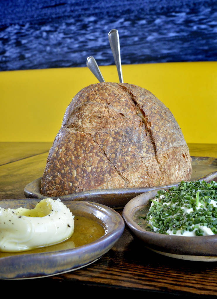 The bread and burata cheese with cultured butter is shown at Esther's Kitchen at 1130 Casino Center Blvd. in Las Vegas on Friday, April 13, 2018. Bill Hughes/Las Vegas Review-Journal