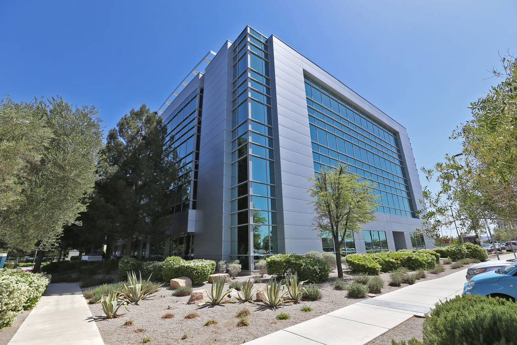 The property of 6750 Via Austi Parkway in Las Vegas, Friday, April 13, 2018. OneRepublic singer Ryan Tedder and partners bought the four-story office building for $30.75 million, the sale closed A ...