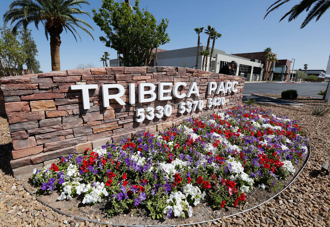 Tribeca Parc office complex in Las Vegas, Friday, April 13, 2018. The roughly 131,000-square-foot complex, now called Tribeca Parc, has three office buildings and is listed for $27.5 million. Chit ...