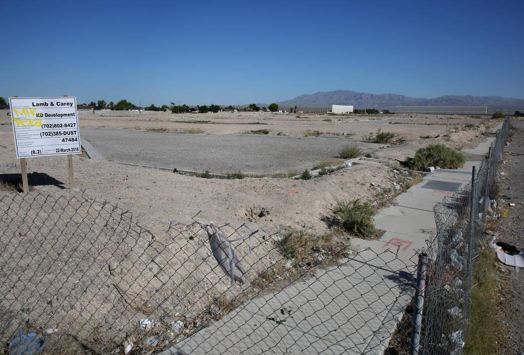 A vacant subdivision lot at the Northeast corner of Lamb Boulevard and Carey Avenue photographed on Tuesday, April 24, 2018, in Las Vegas. Bizuayehu Tesfaye/Las Vegas Review-Journal @bizutesfaye