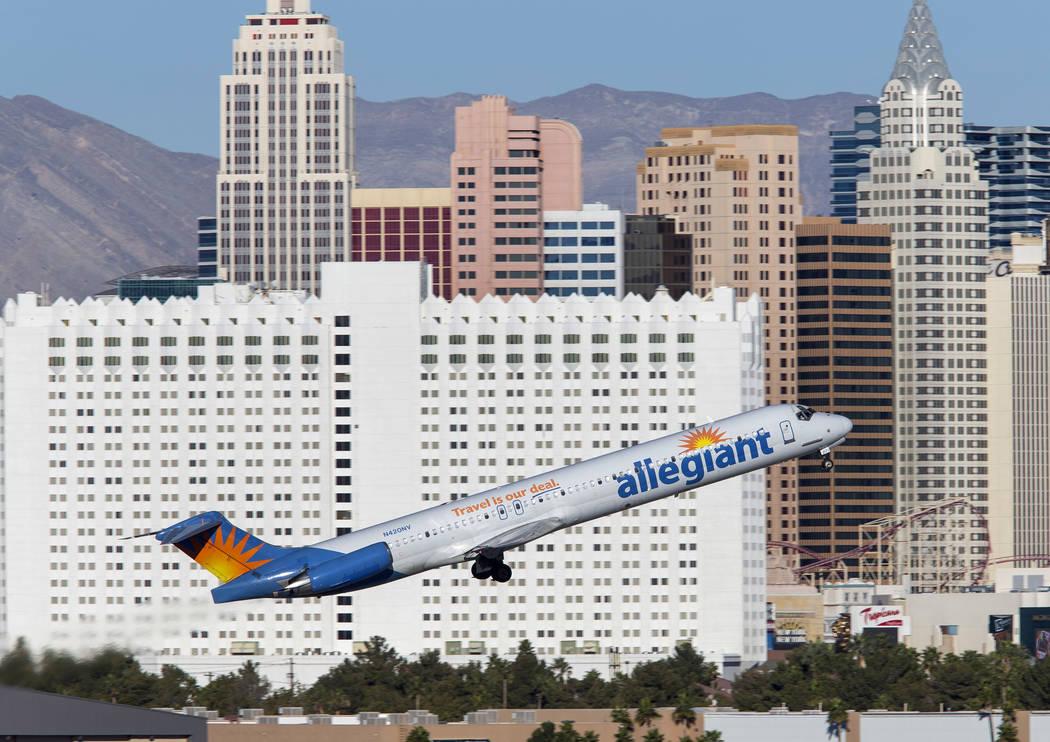 An Allegiant Air flight departs from McCarran International Airport in Las Vegas, Sunday, Jan. 28, 2018. (Richard Brian/Las Vegas Review-Journal) @vegasphotograph