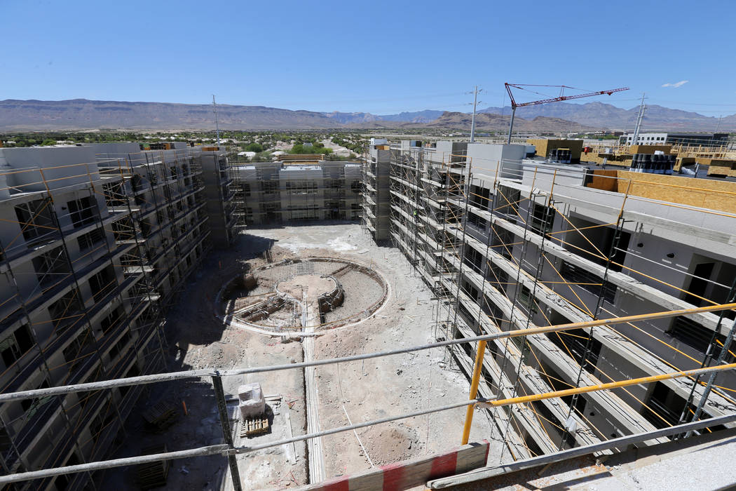 The pool area under construction at the 365-unit Elysian apartment complex on the southeast corner of Flamingo Road and Hualapai Way in Las Vegas Friday, April 27, 2018. K.M. Cannon Las Vegas Revi ...