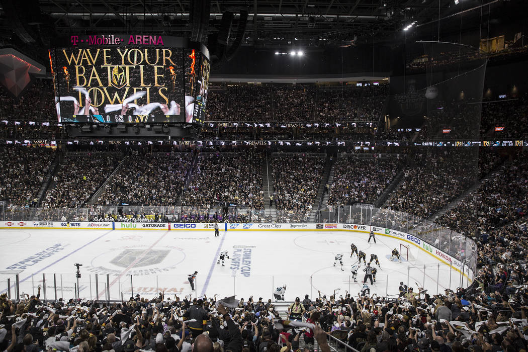 The Golden Knights line up to start game two of their second round playoff series against the San Jose Sharks on Saturday, April 28, 2018, at T-Mobile Arena, in Las Vegas. Benjamin Hager Las Vegas ...