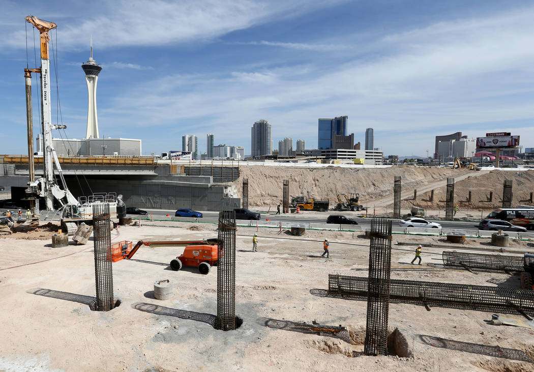 Work continues May, 8, 2018, on columns that will hold up the northbound and southbound lanes of Interstate 15 over Oakey Boulevard as part of Project Neon. K.M. Cannon Las Vegas Review-Journal @K ...