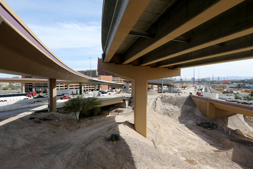 Work continues May, 8, 2018, on high occupancy vehicle lanes from U.S. Highway 95 to Interstate 15 as part of Project Neon. K.M. Cannon Las Vegas Review-Journal @KMCannonPhoto