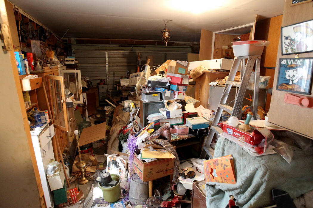 The garage of home at 809 Palmhurst Drive in Las Vegas Thursday, Feb. 22, 2018. After home owner Carole Barnish died last August, Shalena Earnheart claimed ownership, sparking a dispute. A neighbo ...