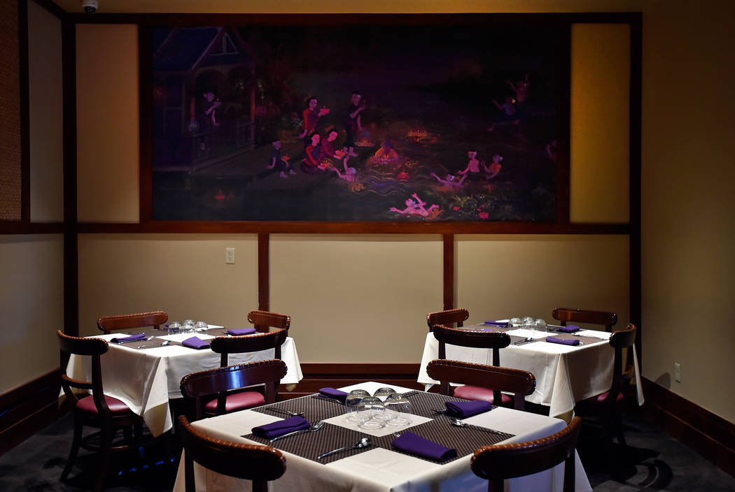 One of the many murals that decorate the dinning rooms at Lotus of Siam restaurant is seen Friday, May 11, 2018, in Las Vegas. David Becker/Las Vegas Review-Journal Follow @davidjaybecker