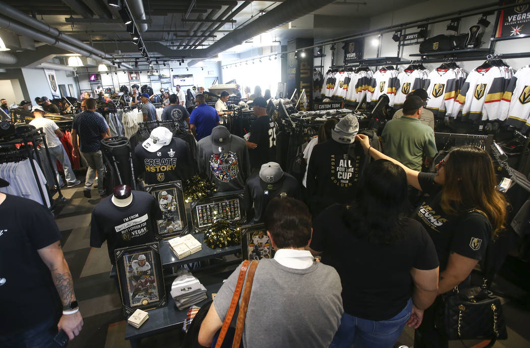 Golden Knights fans browse through merchandise at The Arsenal following a team practice at City National Arena in Las Vegas on Thursday, May 10, 2018. Chase Stevens Las Vegas Review-Journal @csste ...