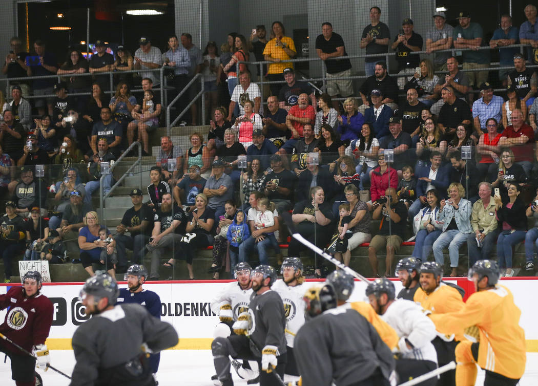 """Golden Knights fans sing """"Happy Birthday to You"""" to Alex Tuch, not pictured, during practice at City National Arena in Las Vegas on Thursday, May 10, 2018. Chase Stevens Las Vegas Review ..."""