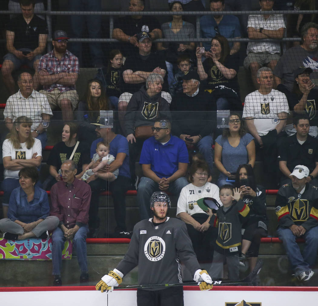 Golden Knights fans watch as defenseman Brayden McNabb (3) looks on during practice at City National Arena in Las Vegas on Thursday, May 10, 2018. Chase Stevens Las Vegas Review-Journal @csstevens ...